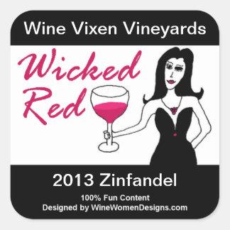 Wine Vixen Wicked Red Faux Wine Label Square Sticker