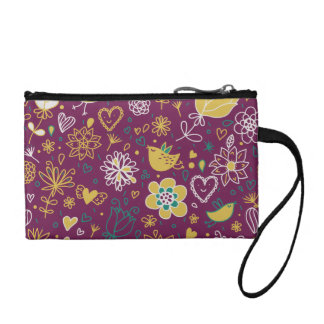 Wine Whimsical Birds and Flowers Coin Purse