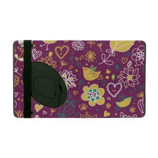Wine Whimsical Birds and Flowers iPad Folio Case