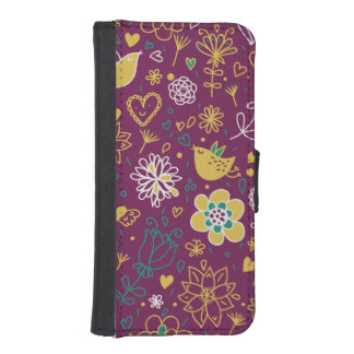 Wine Whimsical Birds and Flowers iPhone SE/5/5s Wallet