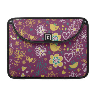 Wine Whimsical Birds and Flowers Sleeve For MacBook Pro