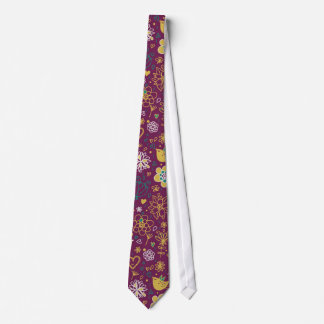 Wine Whimsical Birds and Flowers Tie