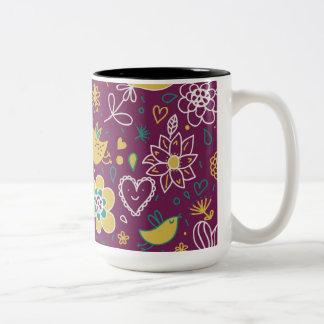 Wine Whimsical Birds and Flowers Two-Tone Coffee Mug