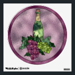"""Wine Wine WIne Wall Sticker<br><div class=""""desc"""">Great wall decal for the home or business featuring a highly detailed graphic design that resembles stained glass with a pale purple background accented with a bottle of wine and 2 bunches of grapes. Plenty of space to personalize with the text of your choice. 12x12</div>"""