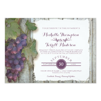 Wine Winery Vineyard Grape Theme Fall Wedding Card