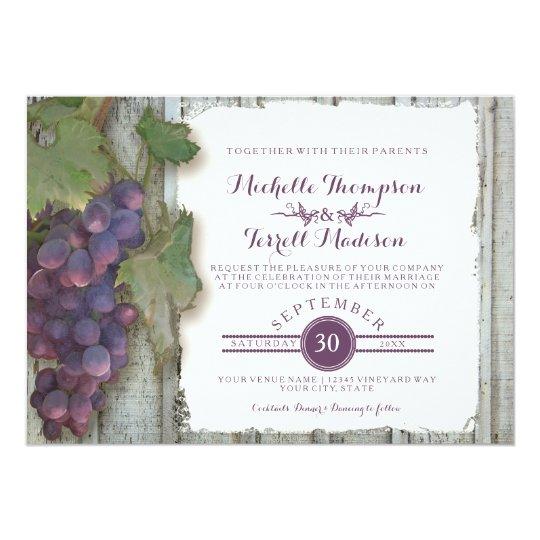 Fall Themed Wedding Invitations: Wine Winery Vineyard Grape Theme Fall Wedding Invitation