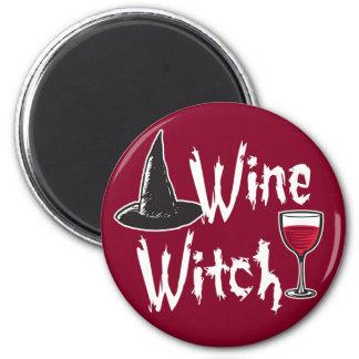 Wine Witch 2 Inch Round Magnet