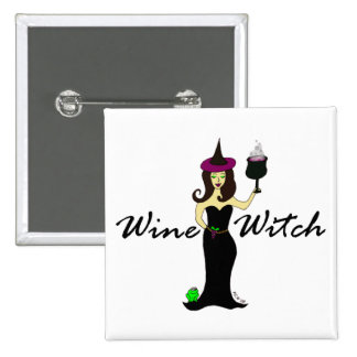 Wine Witch Square Button