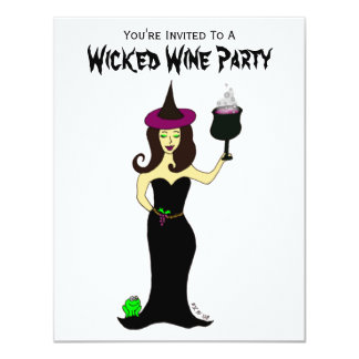 "Wine Witch Wicked Wine Party 4.25"" X 5.5"" Invitation Card"