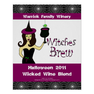 """Wine Witch """"Witches Brew"""" Halloween Wine Poster"""
