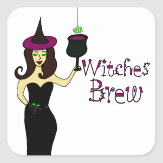 Wine Witch Witches Brew Halloween Wine Stickers