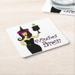 """Wine Witch """"Witches Brew"""" Square Paper Coaster"""