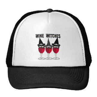 WINE WITCHES RED WINE GLASS WITCH PRINT HATS