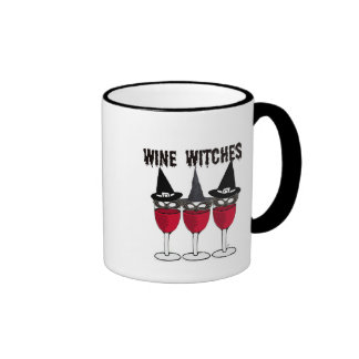 WINE WITCHES RED WINE GLASS WITCH PRINT RINGER COFFEE MUG