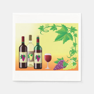Wine With Grapes Paper Napkins