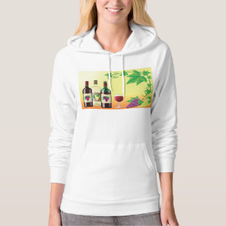 Wine With Grapes Womens Hoodie