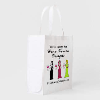 Wine Women Designs Promotional Value Reusable Grocery Bag