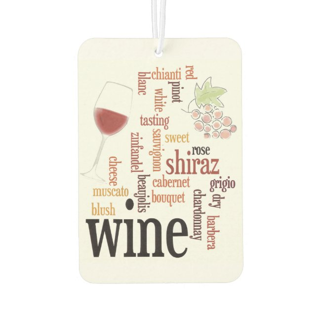 Wine Word Cloud Design Air Freshener