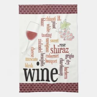 Wine Word Cloud Design Kitchen Towel