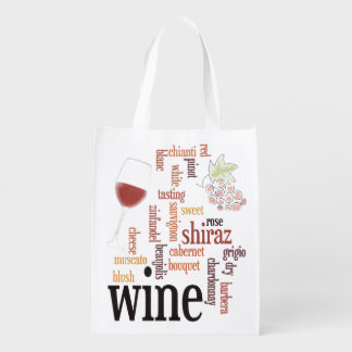 Wine Word Cloud Design Reusable Tote