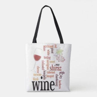 Wine Word Cloud Design Tote Bag