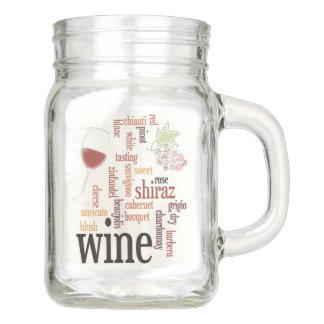 Wine Word Cloud Mason Jar