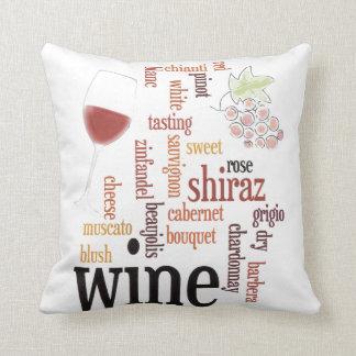 Wine  Word Cloud Throw Pillow