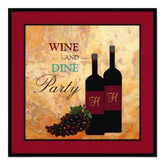 """Wine y cene al fiesta invitación 5.25"""" x 5.25"""""""