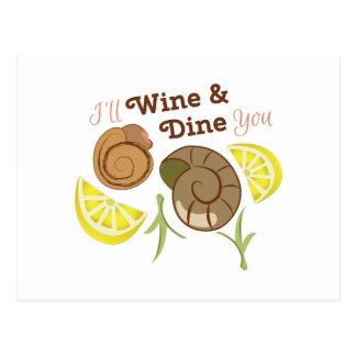Wine y cénele tarjetas postales