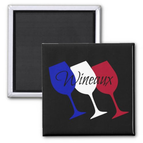 Wineaux French Flag Wine Glass Trio 2-inch Square Magnet