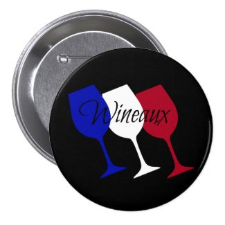 Wineaux French Flag Wine Glass Trio 3-inch Round Button