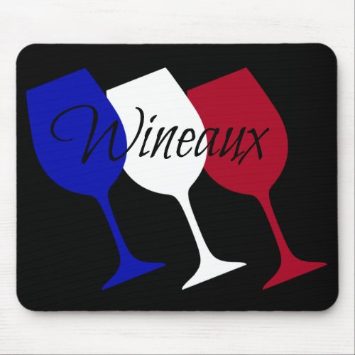 Wineaux French Flag Wine Glass Trio Computer Mouse Pad