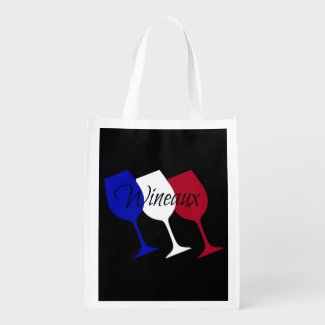 Wineaux French Flag Wine Glass Trio Reusable Grocery Bag