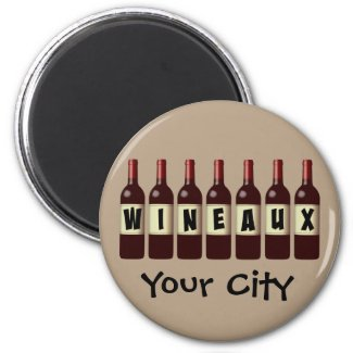Wineaux Wine Bottles Lineup Customizable 2-inch Round Magnet
