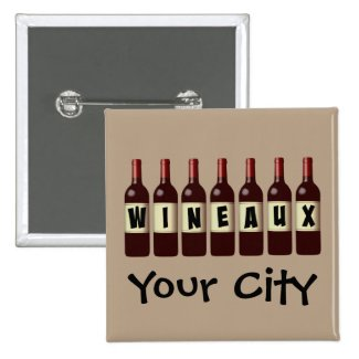 Wineaux Wine Bottles Lineup Customizable 2-inch Square Button