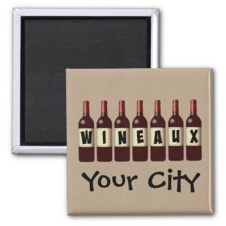 Wineaux Wine Bottles Lineup Customizable 2-inch Square Magnet