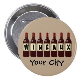 Wineaux Wine Bottles Lineup Customizable 3-inch Round Button