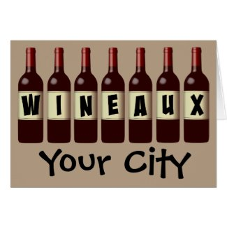 Wineaux Wine Bottles Lineup Customizable Greeting Card