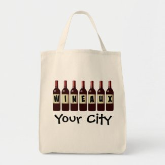 Wineaux Wine Bottles Lineup Grocery Tote Bag