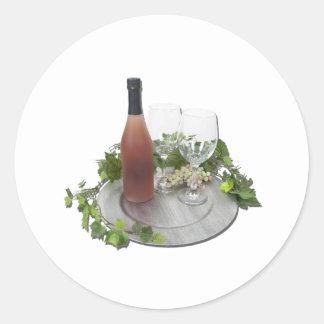 WineBottleGlassesSilverCharger010212 Classic Round Sticker