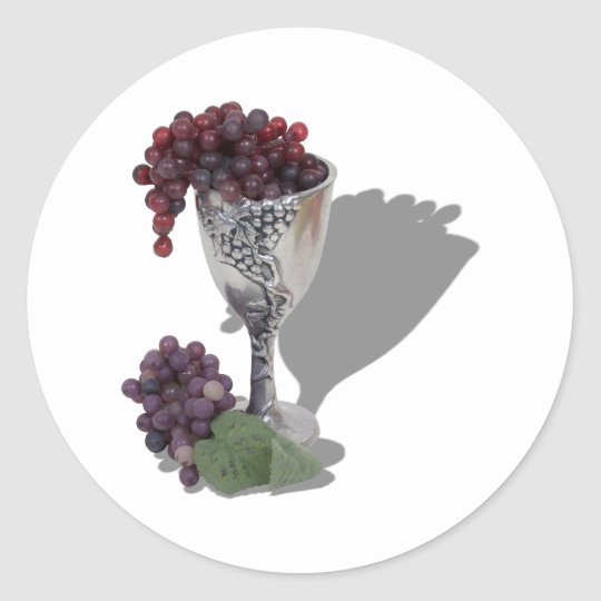 WineChaliceGrapes060910shadows Classic Round Sticker