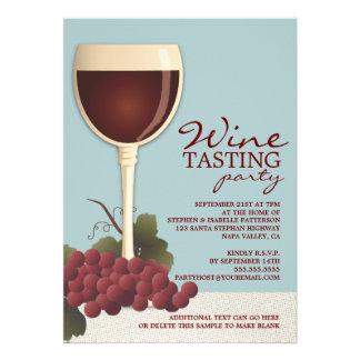 Wineglass Grapes Wine Tasting Party Invitation