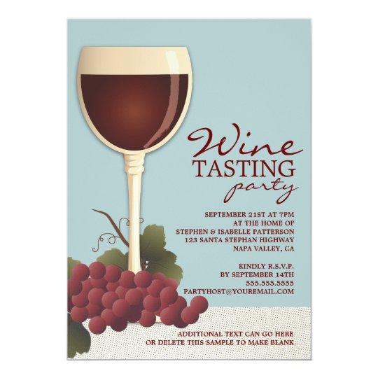 wineglass grapes wine tasting party invitation zazzle com