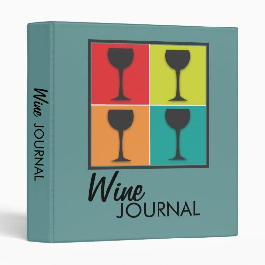 Wineglass Pop Art Retro Wine Journal in Teal 3 Ring Binder