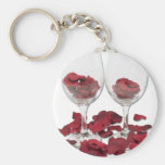 WineGlassRosePedals Keychain