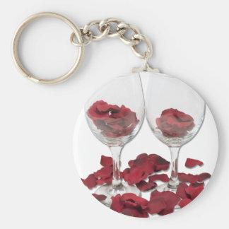 WineGlassRosePedals Llaveros