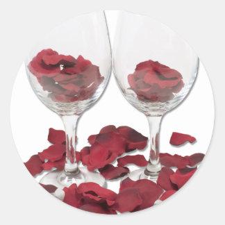 WineGlassRosePedals Pegatina Redonda