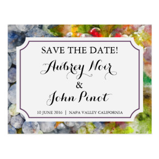 Winery and Vineyard Watercolor Save the Date Postcard