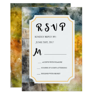 Winery and Vineyard Watercolor Wedding RSVP Card