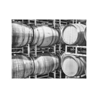 Winery Barrels Black and White Canvas Print